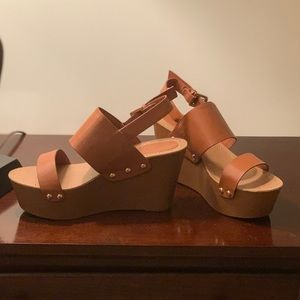 Forever 21 Platform Faux Wooden Sandals